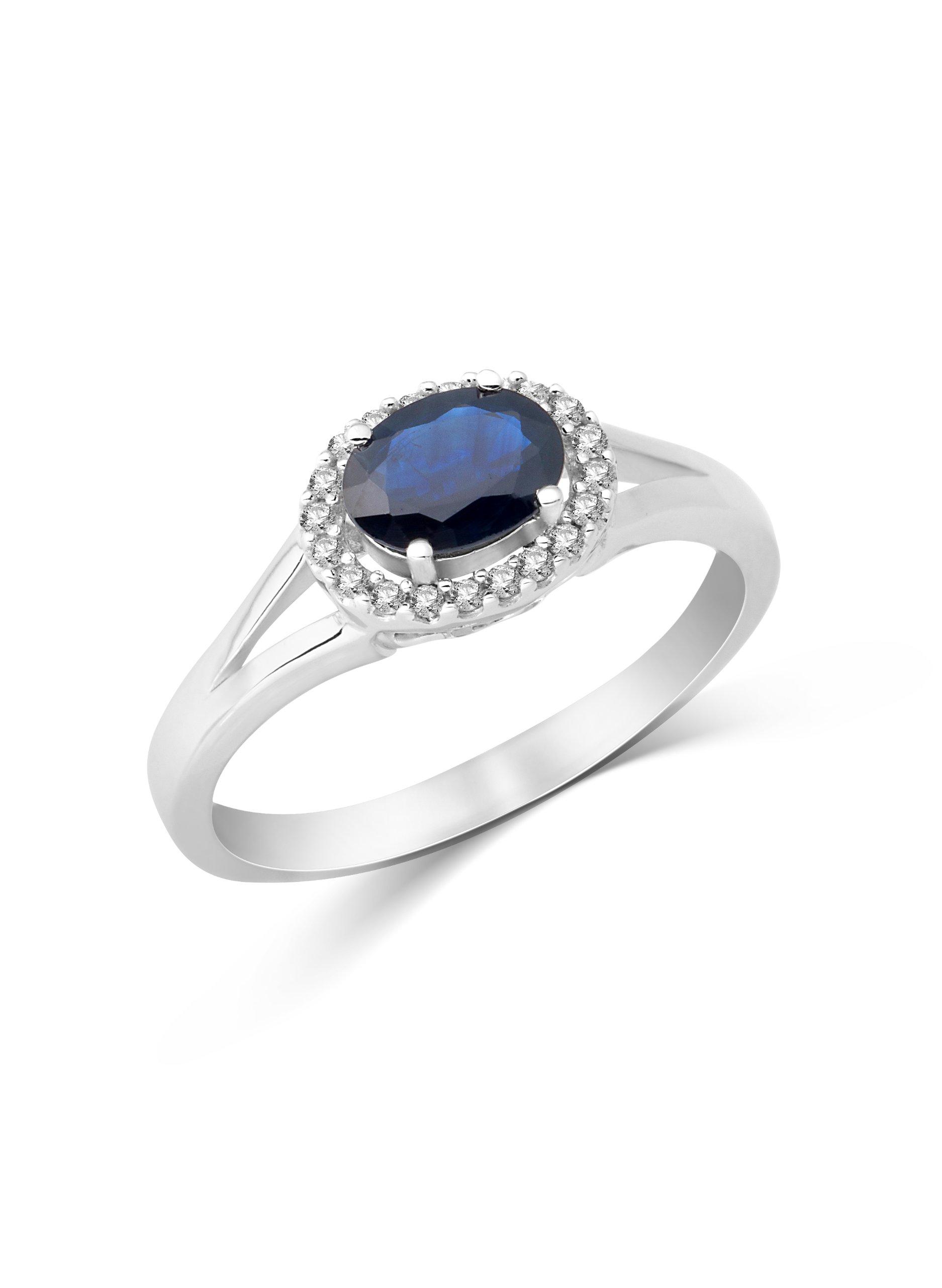 14 carati Miore donna-anello 585 Oro bianco 1, 0ct ovale incorniciato con 0, 11ct zaffiro brillanti