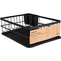 JOHSEATY Égouttoir à vaisselle en métal noir mat (42 x 31,5 x 15,5 cm) - Égouttoir à vaisselle sur évier avec porte…