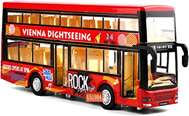 US1984 Die-Cast Double Decker 4 Wheel Drive Metal Bus Car Pull Back with 3 Openable Doors and Light, Music for Boys and Girls (Multicolour, 4+ Years)