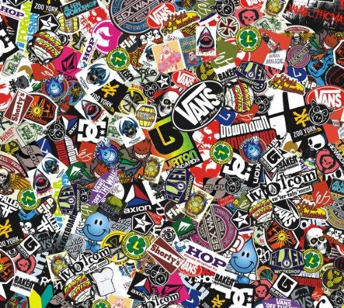 Logo 30 (Sticker Bomb Comic Folie mit Echtem Logos 152x30cm Snowboard Aufkleber Skateboard Marken, Yamaha Aerox, Aprilia SR50)