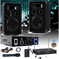 etc-shop PA Party Karaoke Anlage Boxen Verstärker Bluetooth USB SD MP3 Funkmikrofon DJ-Compact 6