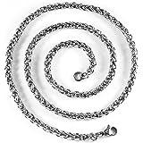 JewSteel Men's, in titanio, in acciaio inossidabile, collana di frumento, larghezza 5 mm
