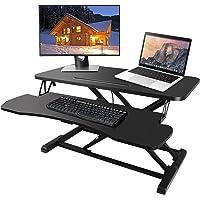 Bilisder Sit-Stand Workstation, Höhenverstellbarer Sitz Steh Schreibtisch Mit Abnehmbarer Tastaturablage Für Computer…