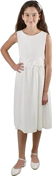 Verasposa® Schlichtes, feines Kommunionkleid Frida mit weißem Blumengürtel, Ivory