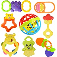 Cable World® Colourful Plastic Non Toxic Set of 8 Attractive Rattle for New Borns and Infants