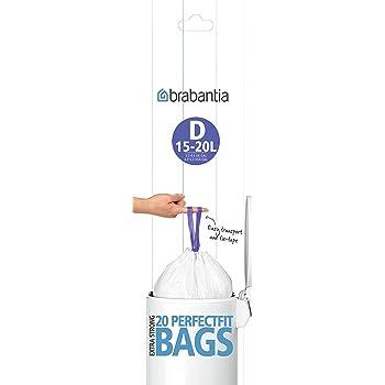 Brabantia Bin Liners, 15-20 L - Size D, 20 Bags
