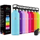 HoneyHolly Botella de Agua Acero Inoxidable sin BPA 350ml/500ml/600ml/750ml, Aislamiento de Vacío de Doble Pared, Botellas Fr