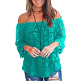 MIHOLL Women's Lace Off Shoulder Tops 3/4 Sleeve Casual Shirts Loose Blouse