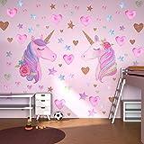 Beanlieve Pegatinas Pared Unicornio Extraíbles, Diseño Unicornio Con Corazones y Estrellas, Pegatinas Reflectantes Para Decor