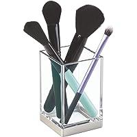 iDesign porte brosse à dents, gobelet transparent en plastique, rangement salle de bain pour brosse à dents, maquillages…