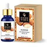 Good Vibes Almond Skin Brightening Facial Oil - 10 ml - Improves Skin Texture for Uneven Skin Tone and Dark Circles…