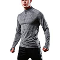 FELiCON Men's Zip Long Sleeve T-Shirt Quick Dry Warm-up Sweatshirt Running Jogging Top Tee Jacket Mens Base Layer…