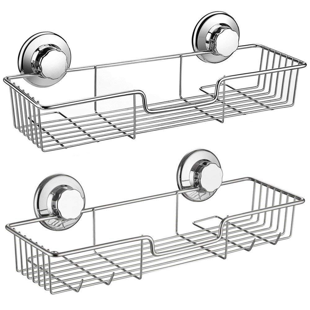 Stainless Steel Kitchen Bathroom Shower Storage Basket Caddy Shelf Suction Cup