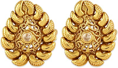 AccessHer Gold Color Copper Material Tilak Shaped Toe Ring