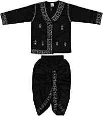 Littly Baby Boy's Embroidered Ethnic Cotton Dhoti Kurta (Black, 2-3 Years)
