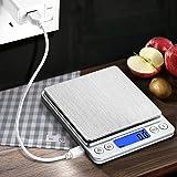 CHWARES Balance de cuisine numérique,charge USB,3 kg/0.1g,mini balance de cuisine électrique,balance numérique étanche,rechargeable par USB,écran LCD,en acier inoxydable,pour les ingrédients,bijoux