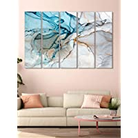 999Store wall painting painting with frame Abstract Blue and white wall art panels hanging painting Set of 5 frames (130…