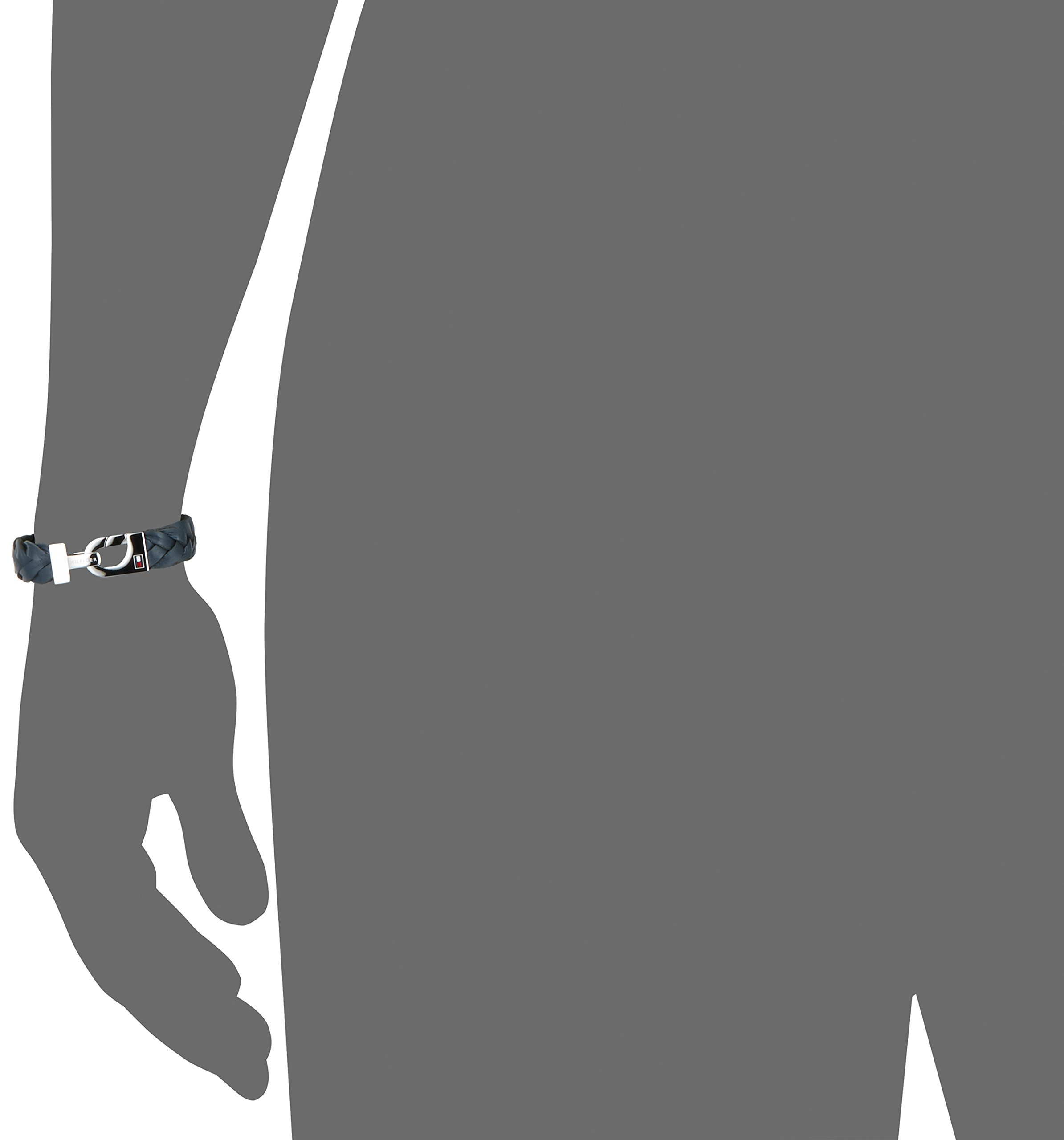 Tommy Hilfiger – Pulsera de Acero Inoxidable para Hombre, Cuero, Azul, 20.5 cm