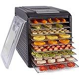 Deshydrateur Aliment Acier Inoxydable • Minuteur de 24h • Température réglable (35 à 75°C) + EXTRA : 1×feuilles à mailles, 1×