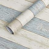 Homein Zelfklevende Behang Blauw Hout Panel Effect 44.5x200 CM Sticky Back Plastic Roll Decoratieve Matte Graan Meubelsticker