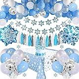Decoraciones Cumpleaños Frozen con Pancarta Cumpleaños, Adornos Tartas, Borlas, Mantel, Globos Látex Azul & Blanco & Confeti