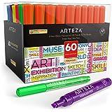 Arteza Subrayadores de colores | Pack de 60 | Marcadores fluorescentes de punta ancha y estrecha | Colores surtidos | Rotulad