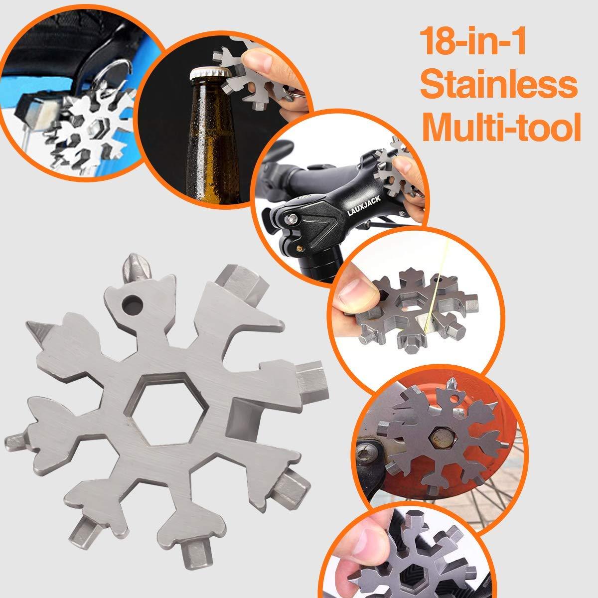 Aitsite Multi herramienta copo de nieve Tarjeta de la herramienta del copo de nieve Destornillador multi-herramienta de acero Llavero Abrebotellas Tarjeta Negro