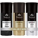 Yardley London Body Spray for Men, Modern masculine fragrance, all day freshness, Value pack 150 ml x 3 (Gentlemen Classic, O