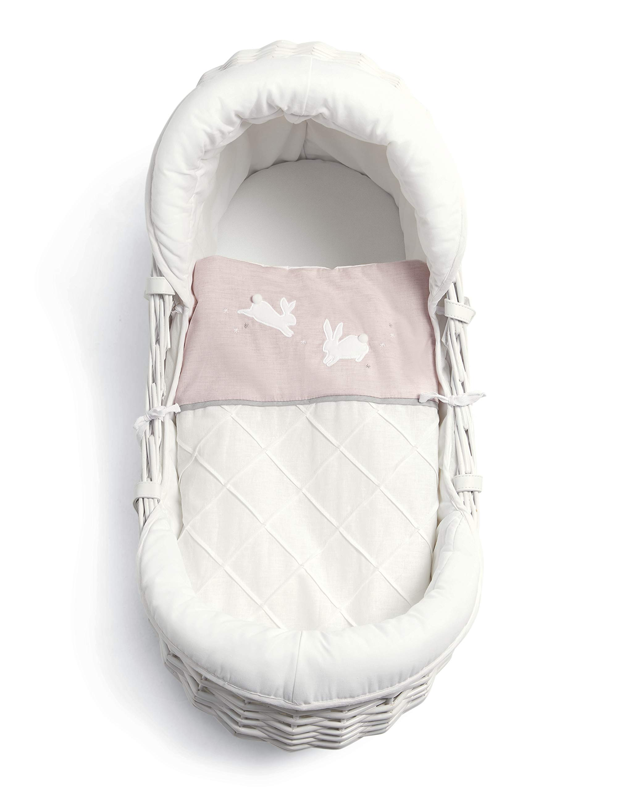 Mamas & Papas Moses Basket - Welcome to the World Pink - Welcome to the World Girls Mamas & Papas Made with 50: 50 cotton and linen mix fabric Luxury, supportive wicker basket Cover made with 100% cotton 1