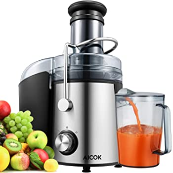 Aicok Entsafter mit 75 mm großer Einfüllöffnung, 800W Zentrifugaler Entsafter, 2 Geschwindigkeitsstufen Juicer für Obst und Gemüse, Silber/Schwarz