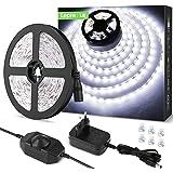 LE 5M Ruban LED 1200LM Blanc Froid Dimmable, 12V 6000K 300LEDs 2835, Bande LED Autocollant avec Variateur, Connecteurs+Transf