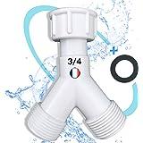 BYMEO/Robinet Double Machine a laver/Raccord Y Pour Robinet Extérieur/Lave Linge/Adaptateur Tuyau d'Arrosage/Embout 3/4 distr