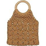 VALICLUD Einkaufstasche mit Rundem Griff Häkeln Geldbörse Stroh Strandtasche Makramee Geldbörse für Frauen
