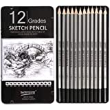 Chrome Professional Drawing Sketching Pencil Set - 12 Pieces Drawing Pencils 10B, 8B, 6B, 5B, 4B, 3B, 2B, B, HB, 2H, 4H, 6H G