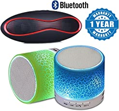 Drumstone Mini Bluetooth Led Color Flash Wireless Stereo Speaker and Rugby Portable Wireless Bluetooth Speaker + Fm Radio