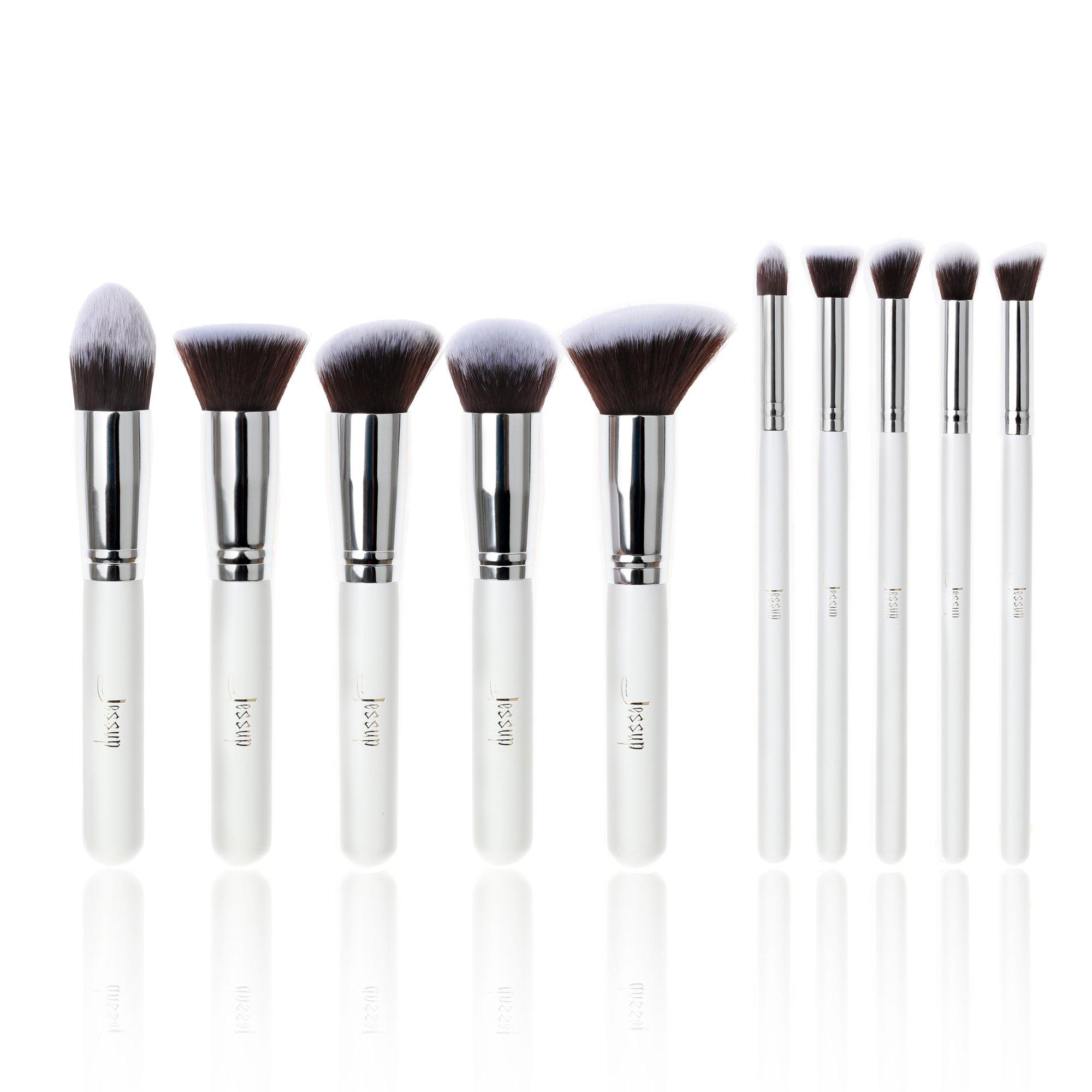 Jessup 10pcs color blanco/plata Kabuki Cosméticos Juego de brochas profesional fundación Herramientas de Belleza Maquillaje de Ojos de potencia T075