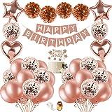 SPECOOL Decoración De Cumpleaños para Mujeres De Oro Rosa, Globos De Confeti De Oro Rosa De Feliz Cumpleaños con Adorno para