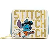 Lilo & Stitch Loungefly - Elvis Stitch Femme Portefeuille Blanc/Or, Imitation Cuir,