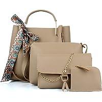 Mammon Women's Beige PU Leather Handbag Combo (4ribn-cream-tie)