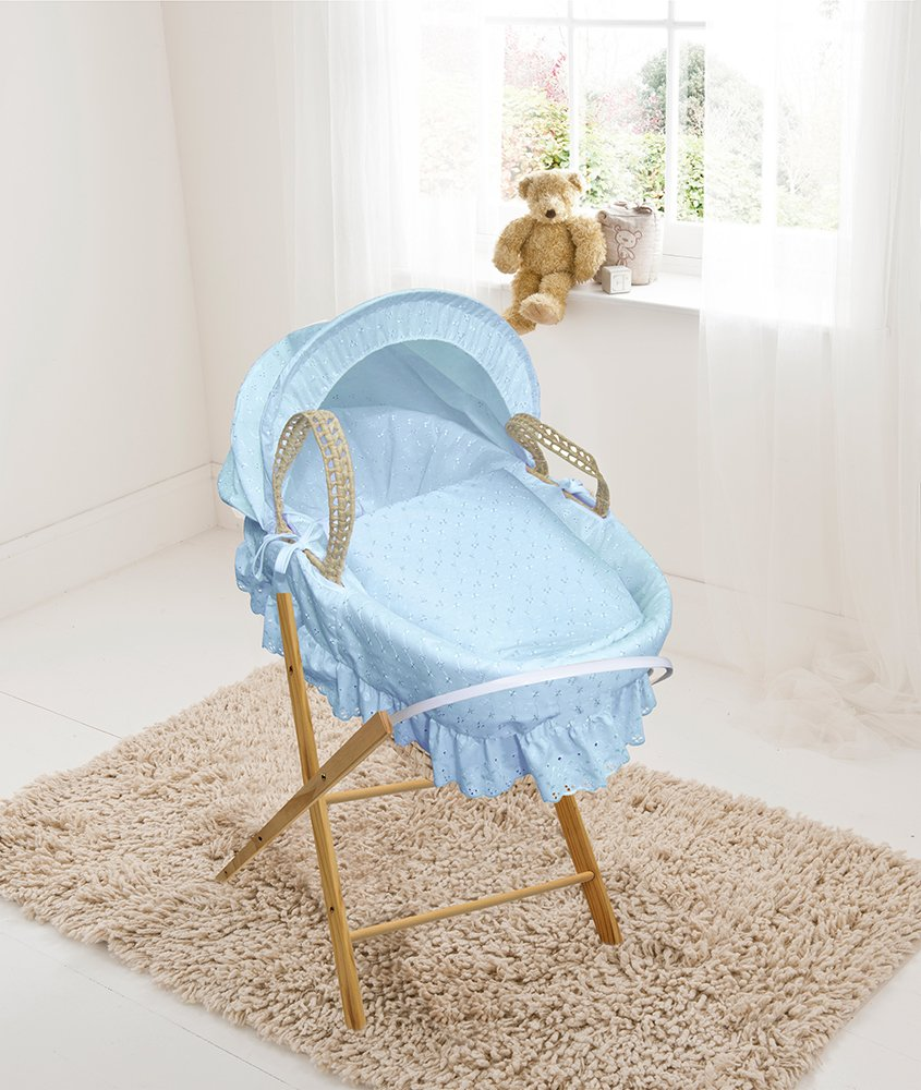 Blue Broderie Anglaise Palm Moses Basket & Folding Stand Elegant Baby Suitable from newborn for up to 9kg, this Moses Basket uses Easy-care Poly Cotton with a soft padding surround Suitable from newborn to 9 months It also includes a comfortable mattress and an adjustable hood perfect to create a cosy sleeping space for your precious little one 1