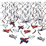 HOWAF 30Pcs Aereo Motivo Compleanno Swirls Decorazioni a Spirale Pendenti Ghirlande Decorazione a soffitto per Bambini Feste