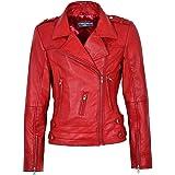 SR Real Leather Rosita Chaqueta de Cuero Verdadero para Mujeres y Señoritas Color Rojo Estilo Motera Casual Ideal para La Mod