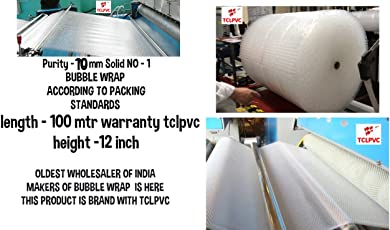 Tclpvc Brand Best Quality Bubble Wrap Packing Material 100 Meter 12 Inch 70 GSM Solid Transparent (BE Original with TCLPVC (Global) Store Made in India Packing Paper and Product Product Code 141
