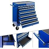 Arebos Werkplaatswagen met 7 vakken | centraal afsluitbaar | anti-slip coating | wielen met parkeerrem | massief metaal | bla
