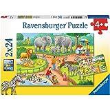 Ravensburger 07813-2x24 bitar Barnpussel från 4 år - perfekt ålderspassning - En dag i djurparken - en rolig aktivitet för fa