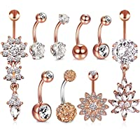 HBselect 9pcs Piercing Ombelico Donna con Zircone Accessori Donna Piercing Ombelico Acciaio Chirurgico set Gioielli…