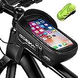otumixx Borsa Telaio Bici, Impermeabile Bici Borse Bicicletta Telaio Anteriore Borsa Top Tubo con TPU Touch Screen Visiera Pa