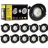 Bojim Spot LED Encastrable Noir, 10x 6W GU10 Spot de plafond Blanc Chaud Rond Plafonnier Encastré 2800K 600lm Equivalente de