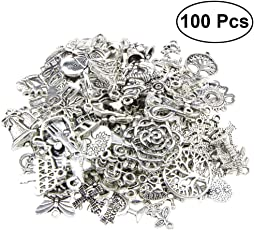Healifty 100pcs Christmas Jewelry Charms Christmas Tree Snowflakes Deer Bell Stocking Charms Pendants for DIY Craft and Jewelry Making (Mixed Send)