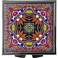 metALUm Pillendose/quadratisch / Modell Marco/Blumenmuster und Ornamente in pink und grün / 41010014 preisvergleich bei billige-tabletten.eu